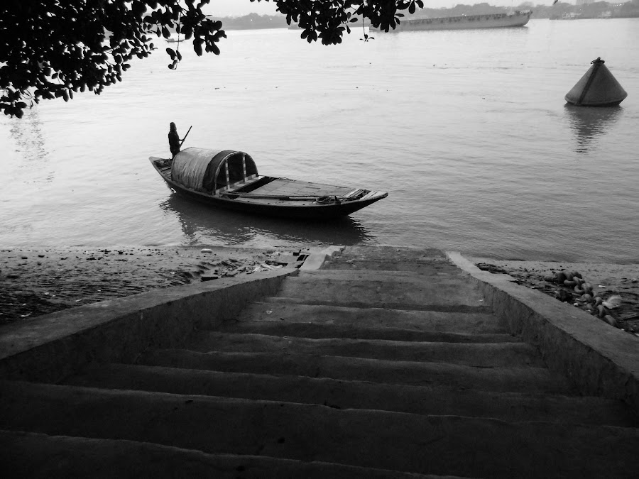 Ferryman awaiting ride by Caesar Jees - Black & White Objects & Still Life ( water, nature, landscape, boat, people, river,  )