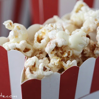Snickerdoodle Popcorn with White Chocolate Drizzle.