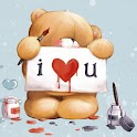 Teddy bear I love you sticker logo