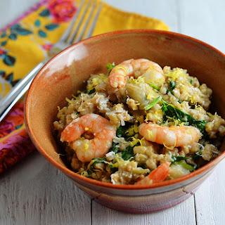 Slow Cooker Shrimp and Artichoke Barley Risotto.