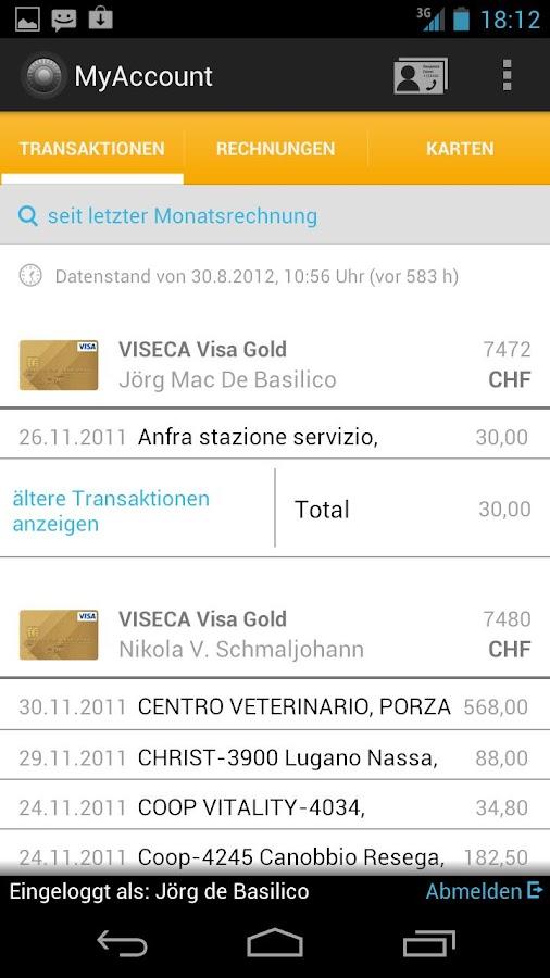 MyAccount Mobile Viseca – Screenshot