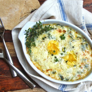 Shirred Eggs Over Garlicky Swiss Chard