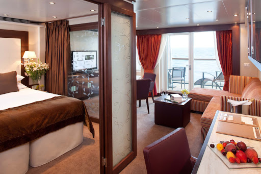 All Penthouse Suites on Seabourn Sojourn offer a dinning area, private veranda, fully stocked bar, and more.