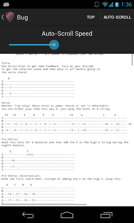 Phish Tabs - screenshot