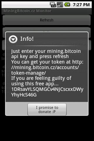 Mining.Bitcoin.cz Monitor - screenshot