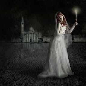 The Runaway Bride by Joan Blease - Digital Art People ( church, venice, white dress, bride, emotion )