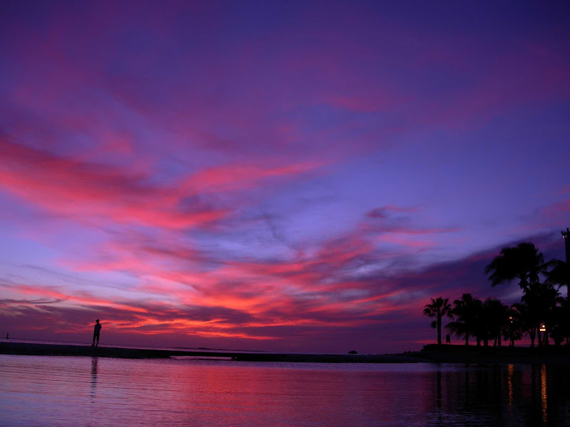 A pink, orange and lavender sunset on Aruba.