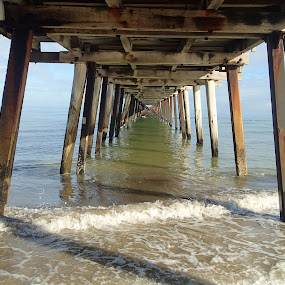 Jetty in Winter by Pamela Howard - Buildings & Architecture Bridges & Suspended Structures ( sand, building, structure, wooden, sky, australia, sea, adelaide, henley, beach, jetty )