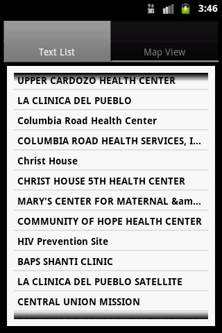 Find a Health Center - screenshot
