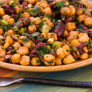 Garbanzo Salad with Olives and Herbs.
