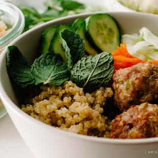 Lemongrass Pork Meatball Quinoa Bowl.
