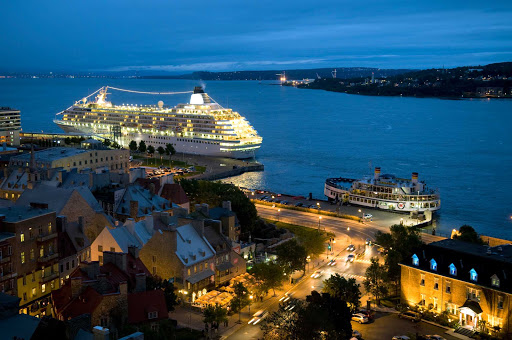 Crystal Symphony docks in Quebec City, Canada, at dusk.