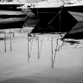 Boat Reflections  by Danielle Falknor - Black & White Landscapes ( eze france, harbour, boats, reflections, yacht club, southern france )