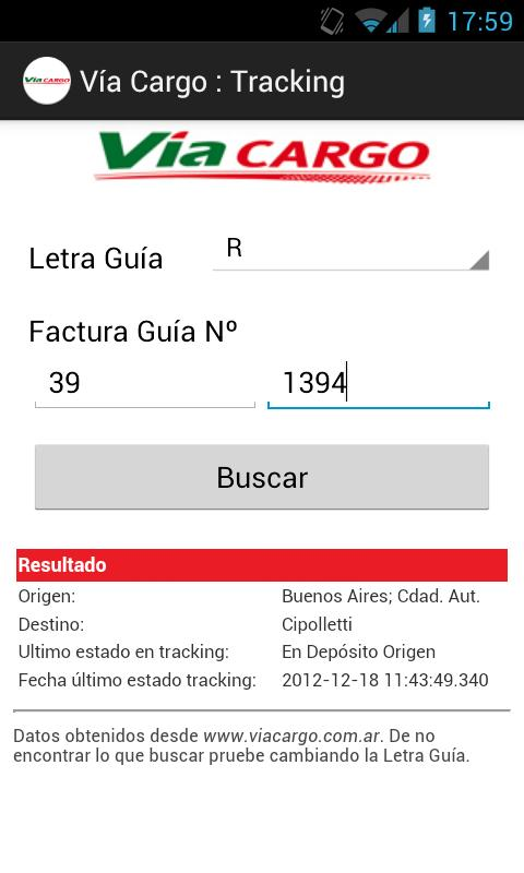 Vía Cargo : Tracking - screenshot