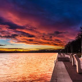 Lake Burley Griffin Sunrise by Peter Hoek - Landscapes Waterscapes