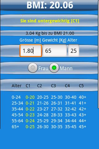 BMI Rechner- screenshot