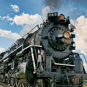 The 765 by Luanne Bullard Everden - Transportation Trains ( clouds, railroad tracks, steam engines, trains, steam,  )