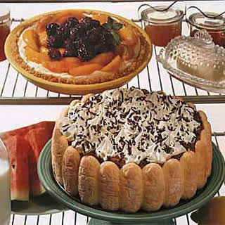 Cream Cheese Pie Topped with Peaches and Blackberries.