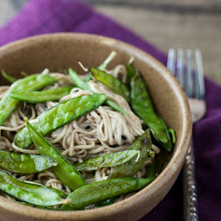 Roasted Snap Peas and Soba Noodles with Honey Soy Dressing.