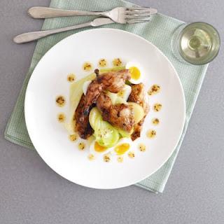 Roast Quail, Tangled Leek & Potato Vinaigrette