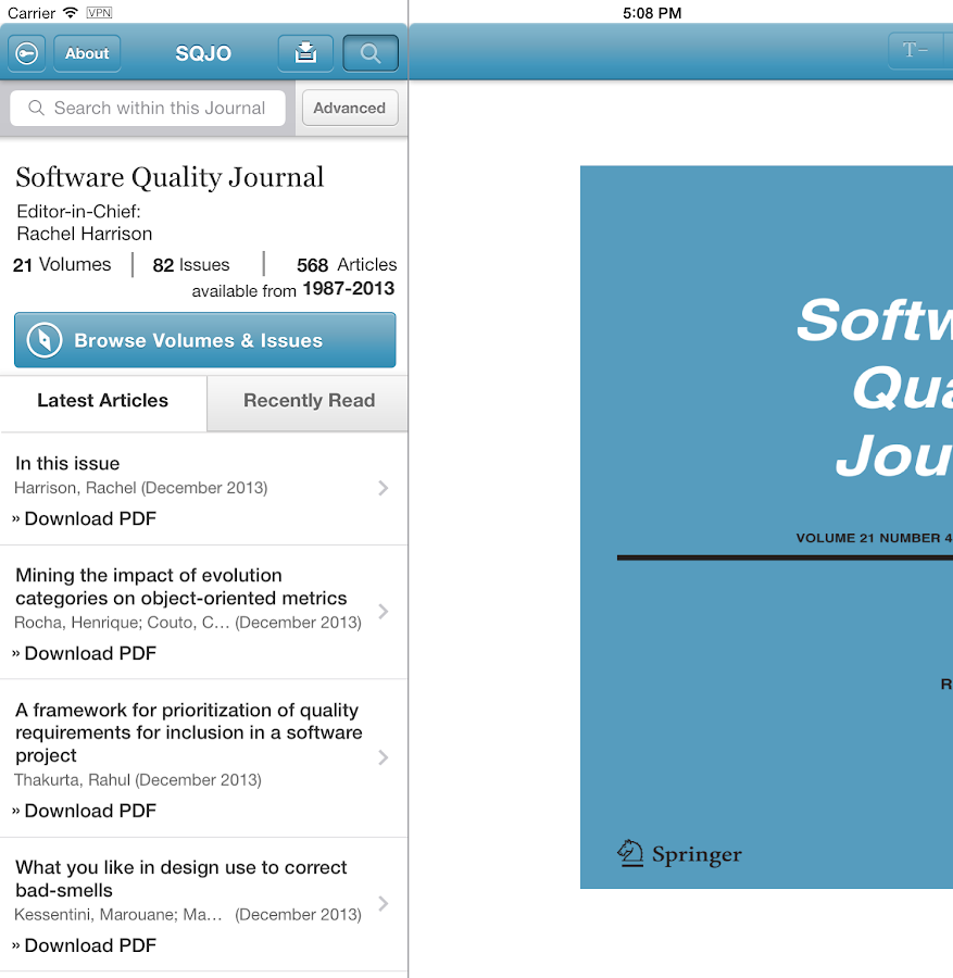 Software Quality Journal - screenshot