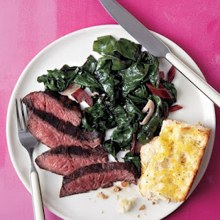 Steak with Swiss Chard and Garlic Bread