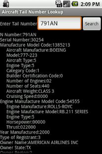 Aircraft Tail Number Lookup - screenshot thumbnail