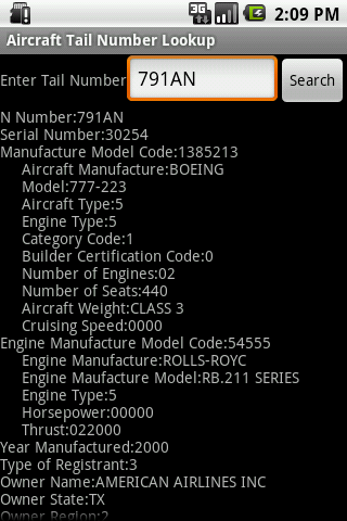 Aircraft Tail Number Lookup - screenshot