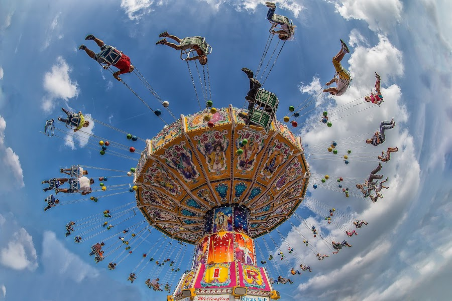 Whirlwind by Pascal Hubert - City,  Street & Park  Amusement Parks ( spinner, flying, amusement, fair, people,  )