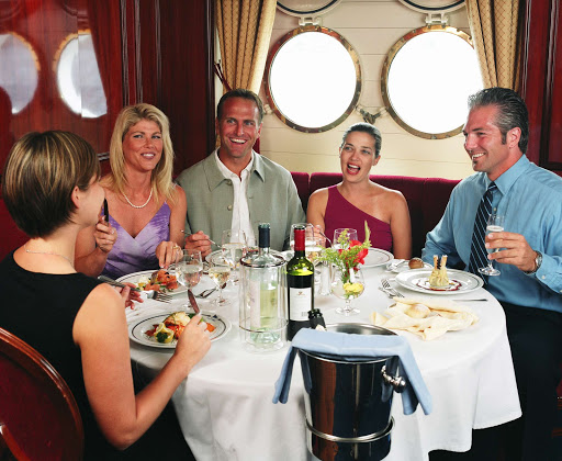 Star-Clippers-guests-dining - Meet new friends over dinner aboard Star Clipper or Star Flyer.
