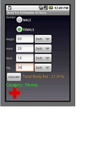 Body Fat Calculator - US NAVY - screenshot thumbnail