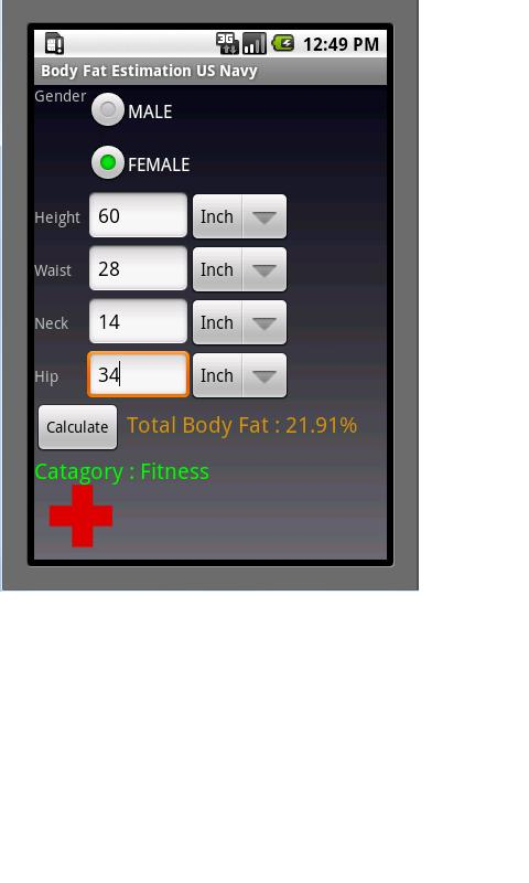 Body Fat Calculator - US NAVY - screenshot