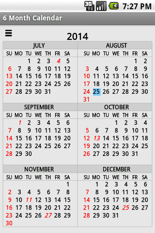 Six Month Calendar