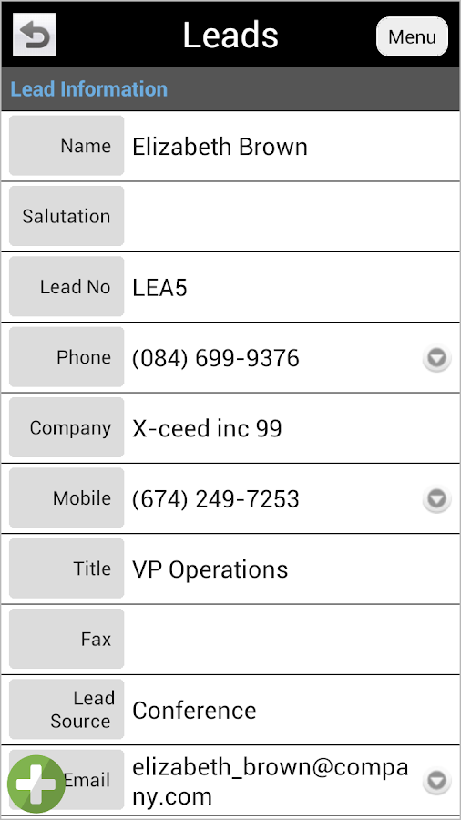 CRM Touch for vtiger - screenshot