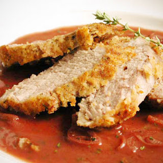 Pork Tenderloin with Hazelnut Crust and Red Wine-Shallot Sauce