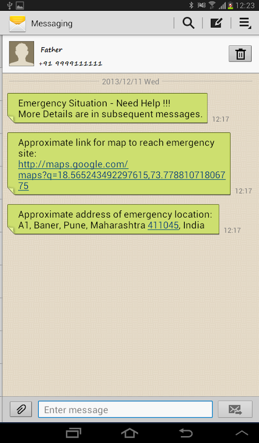 Emergency Notifier- screenshot