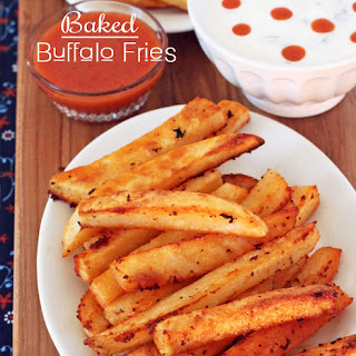 Baked Buffalo Fries w/ Ranch & Blue Cheese Dipping Sauces.