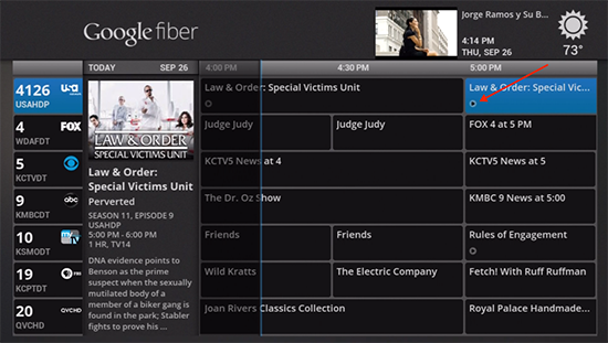 Google Fiber TV legacy watch now feature