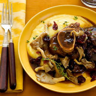 Beef Shank with Mushrooms and Cranberry Sauce.