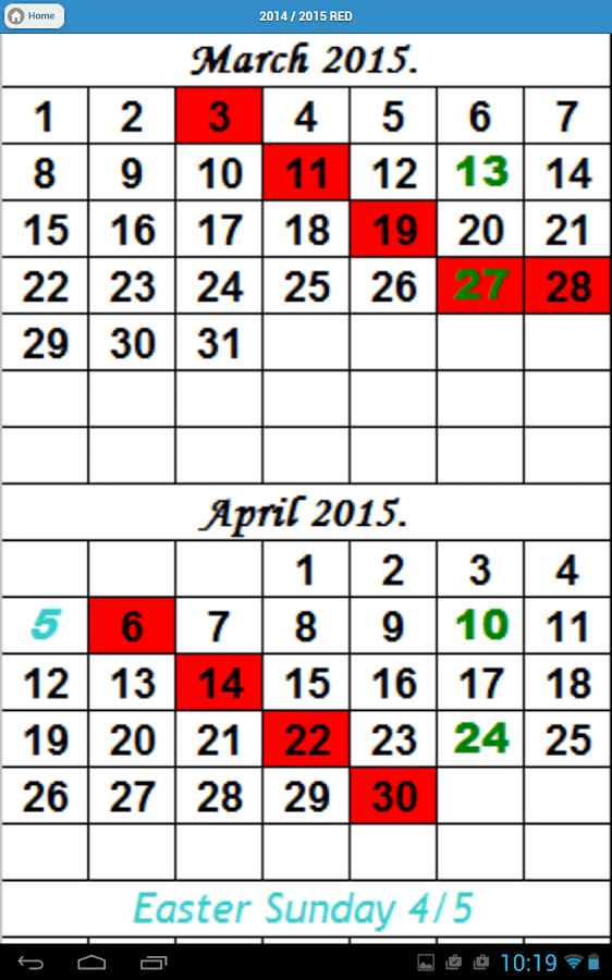 Letter carrier color coded calendar 2015 for Color coded calendar template