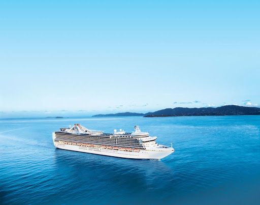 Crown-Princess-at-sea - Crown Princess sails to such destinations as Alaska, Vancouver, Seattle, California, New York and Canada.
