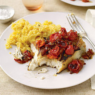 Halibut with Barbecue Tomato Sauce and Honey Mustard Polenta.