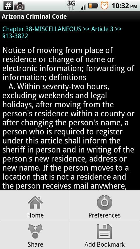 Arizona Criminal Code- screenshot