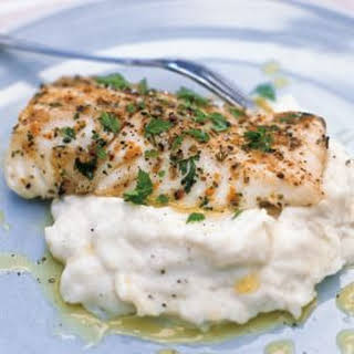 Grilled Halibut with Potato-Fennel Puree.