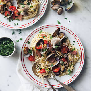 Linguine with Clams, Bacon and Tomatoes.