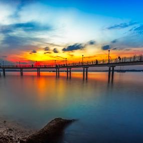 Colours of Nature by GokulaGiridaran Mahalingam - Landscapes Sunsets & Sunrises ( canon, water, clouds, seashore, landsape, beachscapes, beach, seascape, glow, 6d, dusk, singapore, colours, colour, blue, sunsets, sunset, wide angle, bridge, stones, bridges, landscapes, golden )
