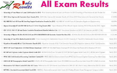 All Exam Results- screenshot thumbnail