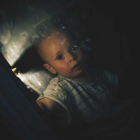 who is there ? by Agnieszka Pogorzałek Gross - Babies & Children Children Candids ( dark, fear )