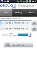 Screenshot of geoCard contacts beta