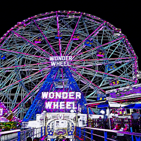 CONEY ISLAND'S WORLD FAMOUS WONDER WHEEL by Kendall Eutemey - City,  Street & Park  Amusement Parks ( kendall eutemey, rides, amusement park, wonder wheel, beach, fun, coney island, boardwalk, colorful, mood factory, vibrant, happiness, January, moods, emotions, inspiration,  )